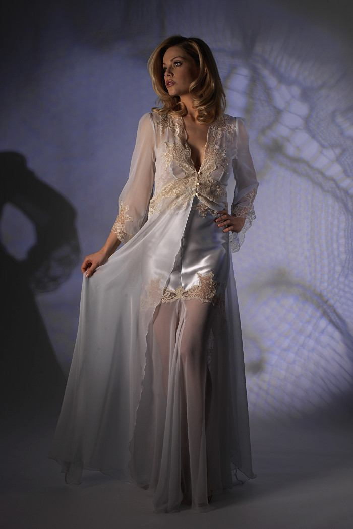 Chiffon Negligee With Long Sleeves Jane Woolrich 2582