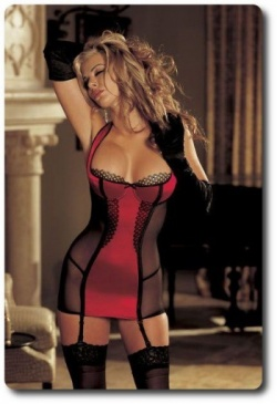 Stretch Satin Gartered Chemise