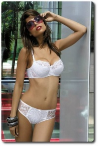 White Half Padded Bra and Panty Set