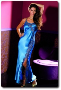 Long Blue Satin Nightdress Coemi 131498
