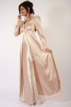 Victoire Long Silk Negligee