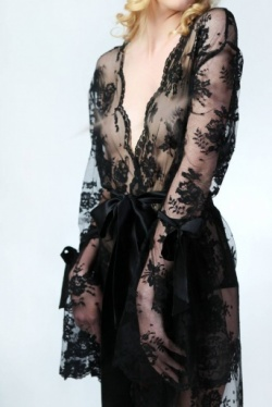 Black Lace Robe - Sonatine by Sonata Lingerie