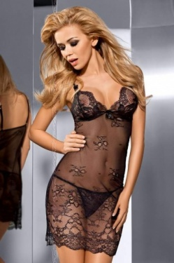 Tempt Me - Black Lace Chemise