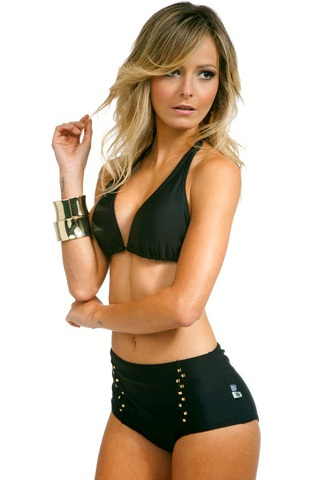 Black bikini with high waist and halter top.