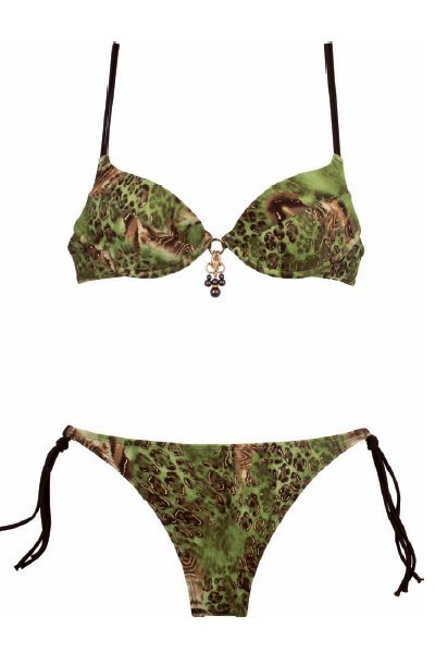 Glamorous underwired bikini top with matching brief in striking leopard print.