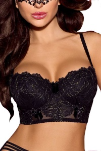 Classy black balconette bra with deep band