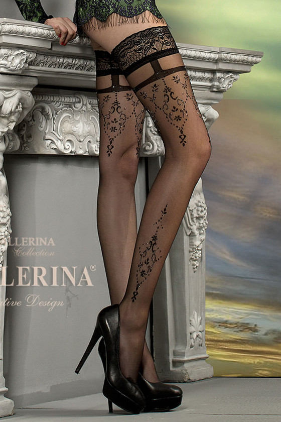 Ballerina luxury patterned stockings with Lurex in the pattern.