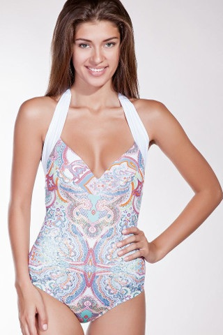 Luxury paisley patterned one piece swimsuit.