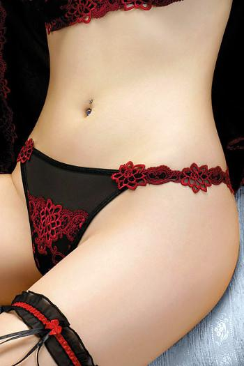 Mon Amour Black & Red Thong 153 by Gracya Lingerie