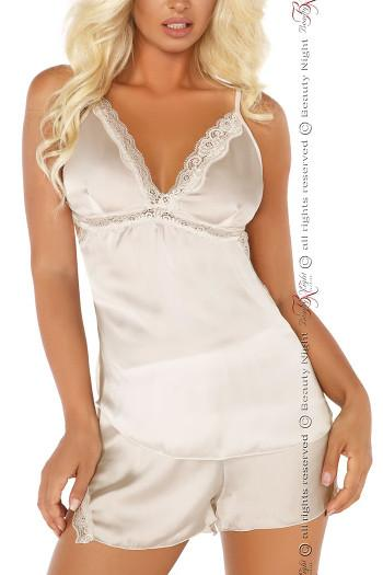 White Satin & Lace Camisole Set Shannon Beauty Night 6459
