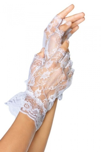White Lace Fingerless Gloves - LA1205
