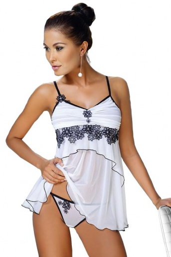 Irall Erotic Babydoll Nightdress & Thong - Mirabelle White