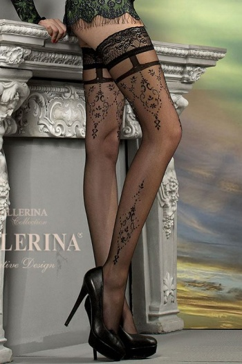 Ballerina 212 Black Patterned Hold Up Stockings
