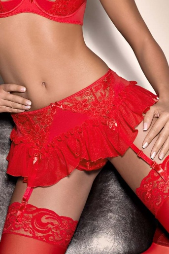 Frilly Red Garter Belt Blush Fever by Axami