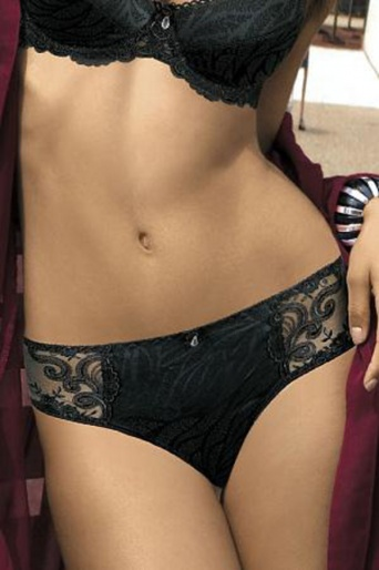 Satin Panties with Lace Trim Gorteks Elle