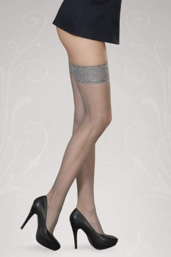 Fishnet Hold Up Stockings - Lucia Grey