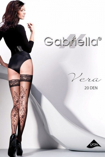 Vera Hold Up Stockings with Floral Pattern