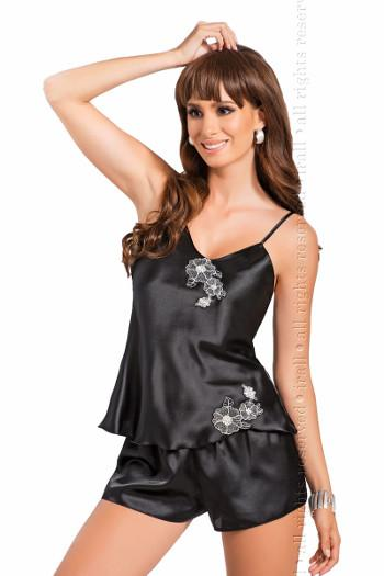 Black Satin Camisole and Shorty Set Irall Ida