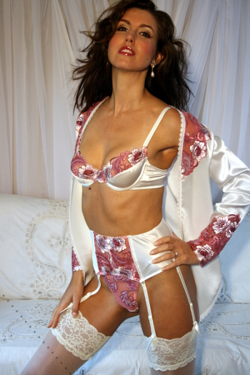 Francesca - Silk Bra, Thong & Suspender set