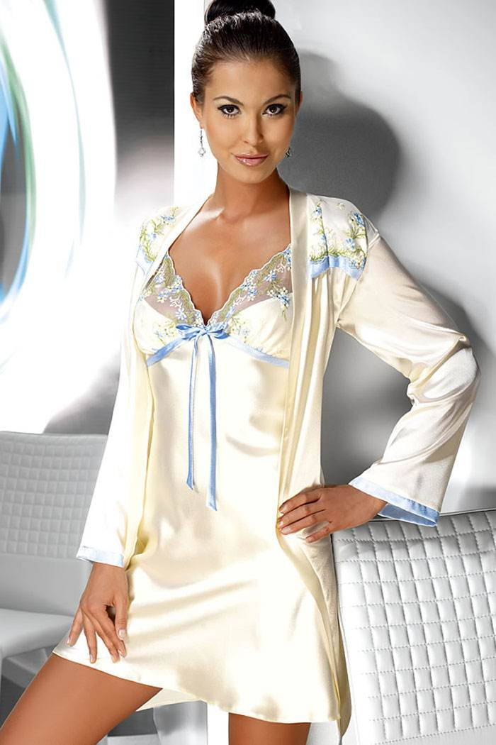 Cream Satin Dressing Gown with Blue Embroidered Flowers- Irall Grace