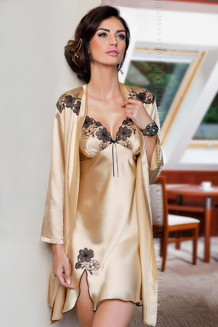 Short Nightdress in Gold Satin with Black Lace Trim