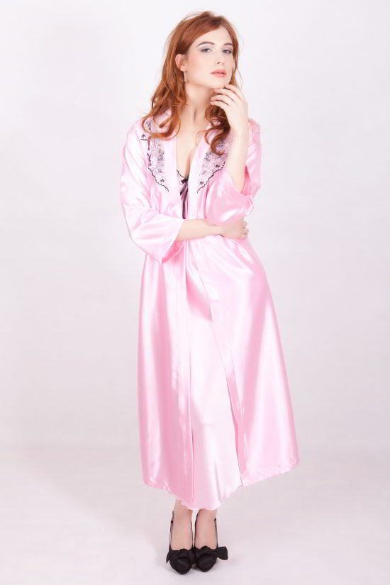 Long Pink Satin Robe - Sylvia by M Line