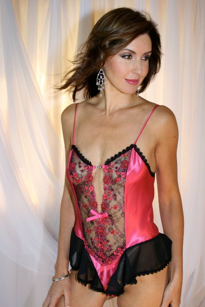 28ae4f5fe64 Thong Back Teddy in Fuchsia Pink Silk - Christelle by Diki Lingerie