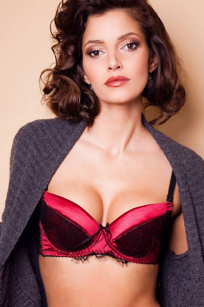 0442d91240e Push Up Bra in Red Soft Satin with Black Eyelash Lace on Cups