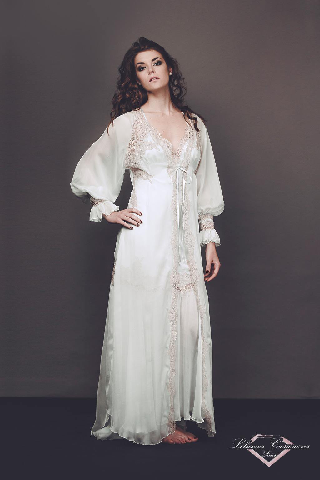 Beautiful Long Silk Chiffon Robe Liliana Casanova Fontainebleau