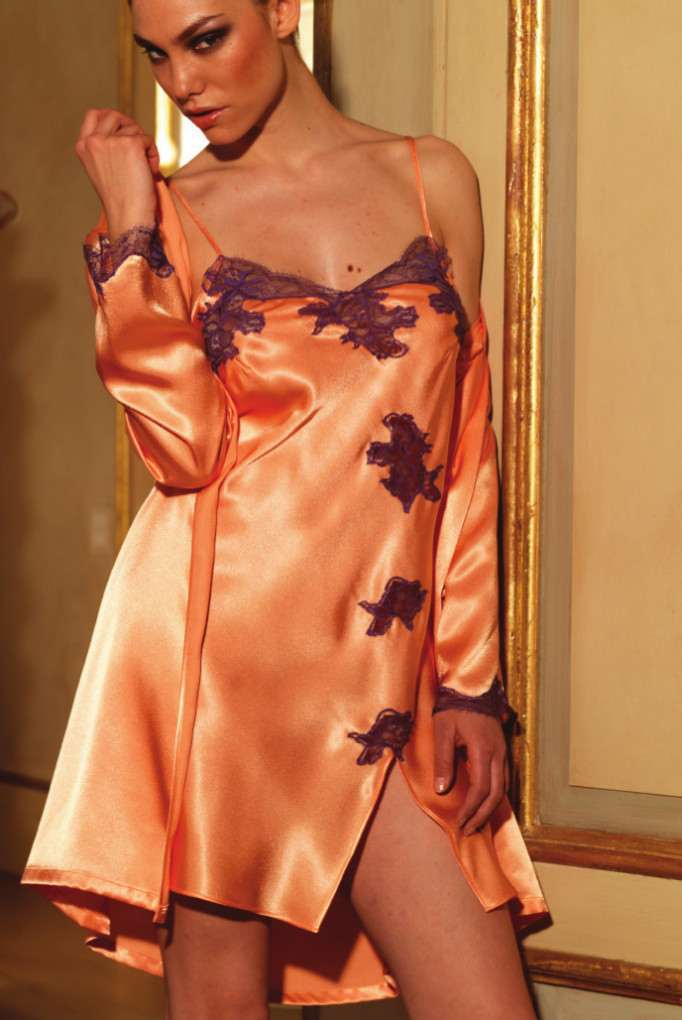 Orange Satin Chemise