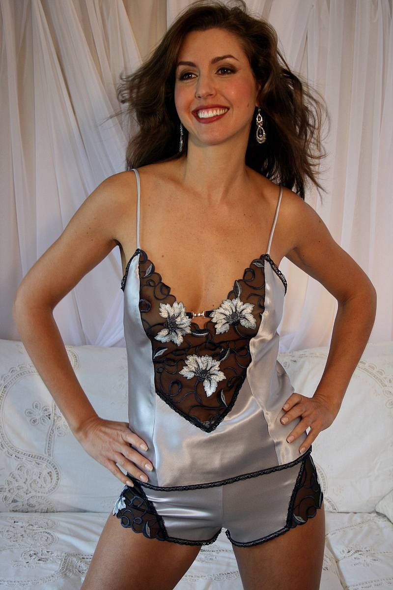 cc17273ef8c Camisole Set in Silver Silk and Black Lace - Diki Isabella
