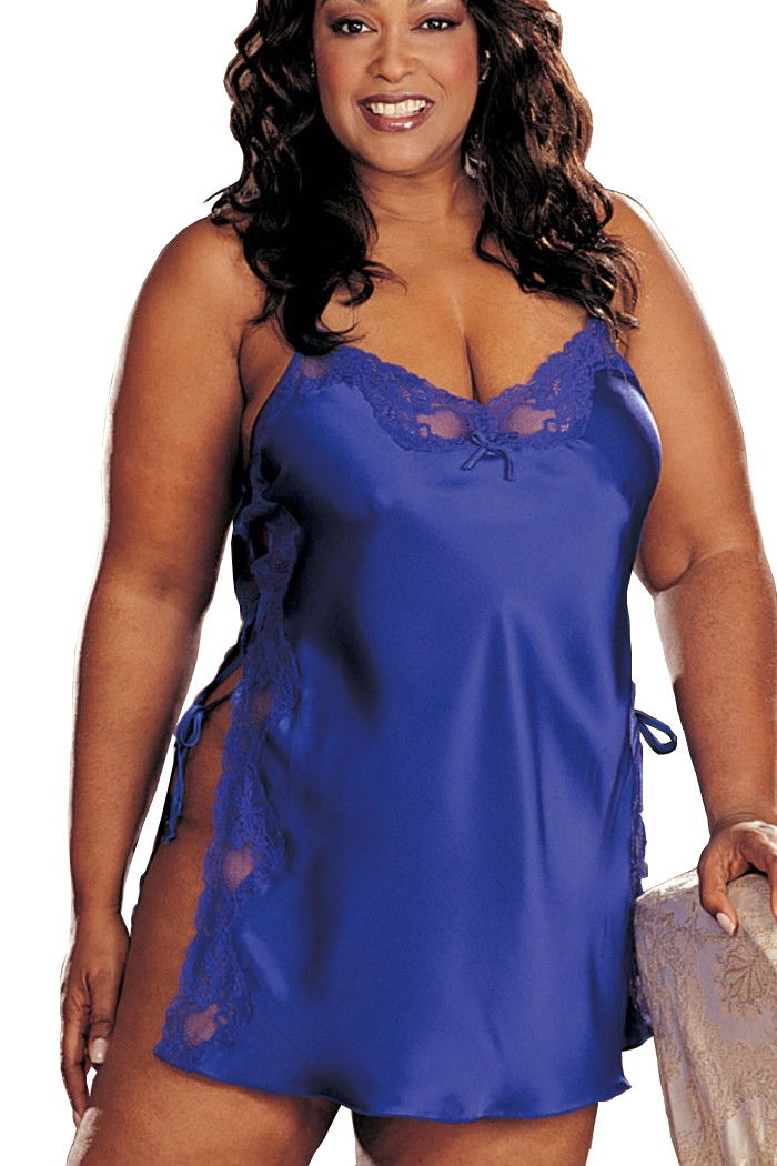 f76cdf3bee5 Plus Size Electric Blue Satin Shift Shirley of Hollywood X20015