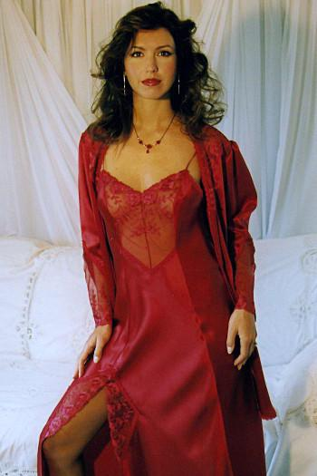 Long Red Silk Nightdress Kristen