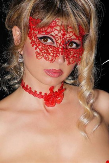 Love Rouge Mask Crystal Decorated Red Lace Mask by Luxxa