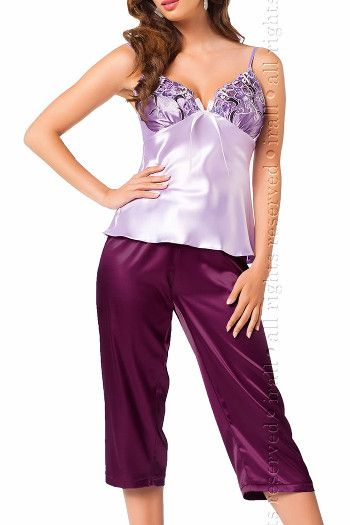 Women's Lavender & Purple Satin Pyjamas - Olga by Irall