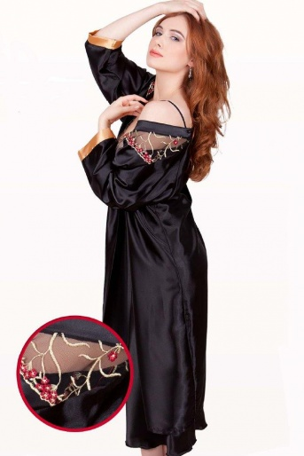 Black Silky Satin Robe - Paris