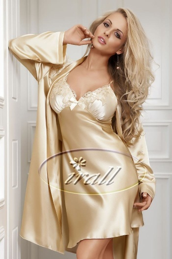 Irall Satin Beige Nightdress - Parisa