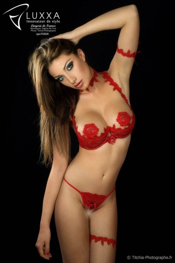 Poisson Red Lace Demi Cup Bra & Open String Set by Luxxa