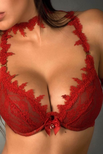 Poisson Red Lace Push Up Bra by Luxxa Lingerie
