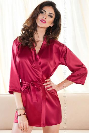 Red Satin Short Dressing Gown Aria by Irall