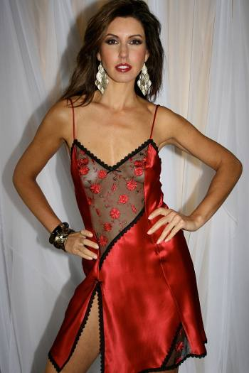 Red Silk Nightdress - Diki by Diane Rubach Carmen