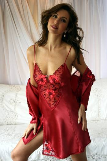 Isabella - Red Silk Chemise