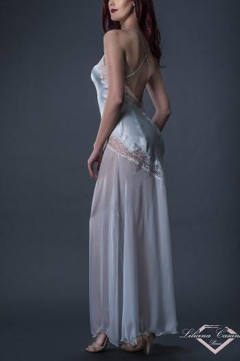 Romantisme Silk Satin & Chiffon Long Nightdress by Liliana Casanova