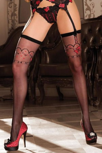 Black Stockings with Red Heart Design
