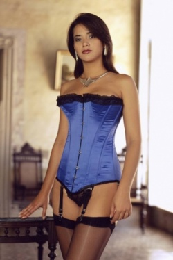 Blue Satin Over bust Corset - Vollers Illusion Design 1899