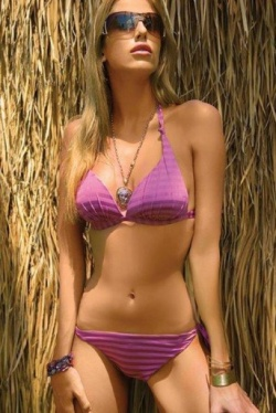 Side Tie Striped Bikini - Acapulco