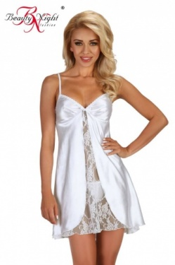 Beauty Night Alexandra White Satin Chemise