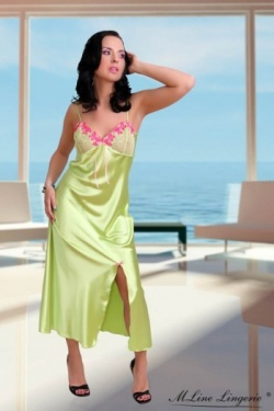 Lime Green Satin Long Nightdress