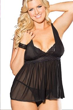 Black Mesh & Lace Plus Size Babydoll Shirley of Hollywood X31042