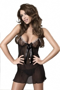 Sheer Black Chemise - Charming